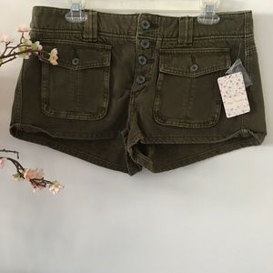 Free People 'Cora' Army Button Front Shorts S-30